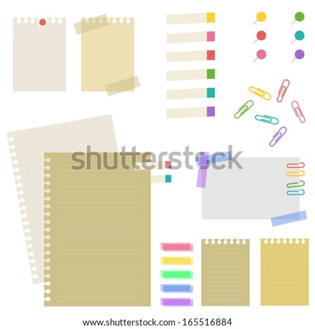 Note paper and pin . Vector EPS 10 illustration   - stock vector