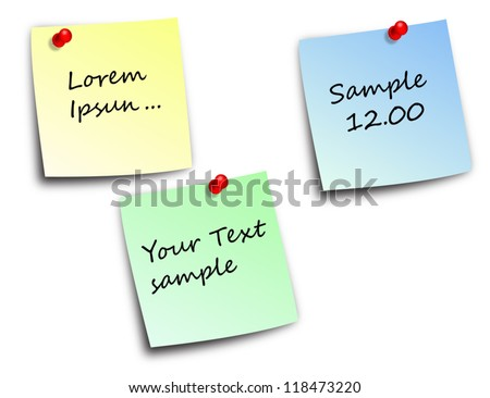 note paper and pins vector - stock vector