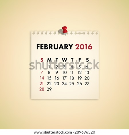 Note Paper Calendar Vector February 2016 - stock vector