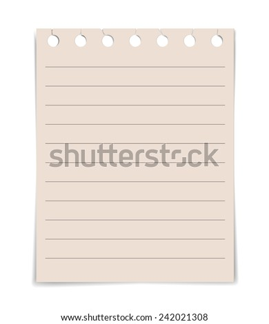 note paper lined paper textures on white background - stock vector