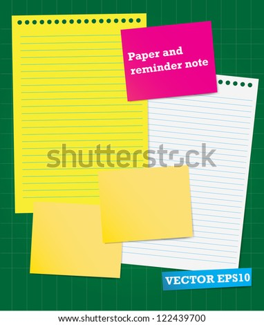 Note Paper on green board - stock vector