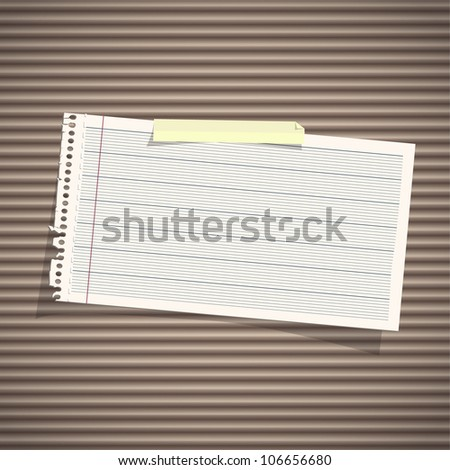 Note paper on texture background. Vector design. - stock vector