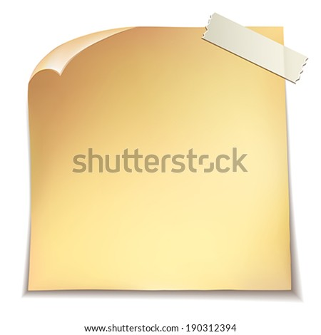 Note paper on white background.    Vector illustration.  - stock vector