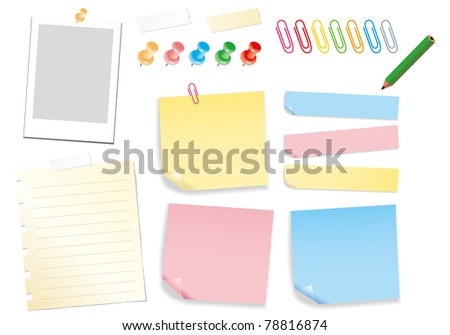 note paper pin post it clip pencil photo - stock vector
