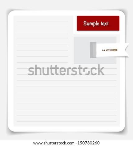 Note paper. Vector EPS10 - stock vector
