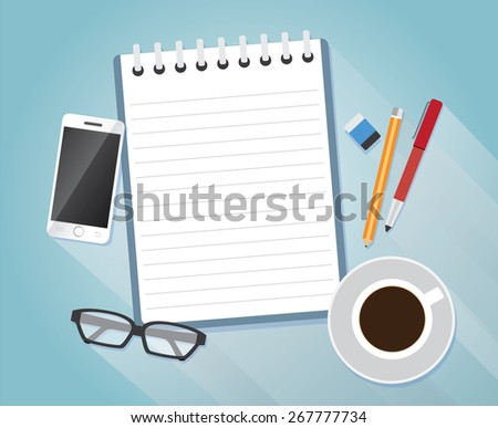 Note paper with a eyeglasses, smartphone, pencils, pens, erasers, coffee, business concept, vector - stock vector
