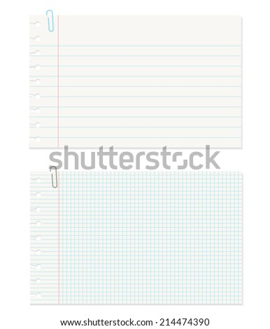 Note Paper with Clip on White Background - stock vector