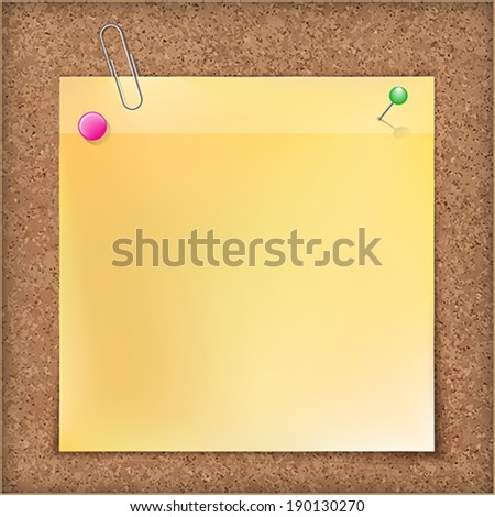 Note paper with metal paper clip, green and pink push pins on cardboard background.    Vector illustration. - stock vector