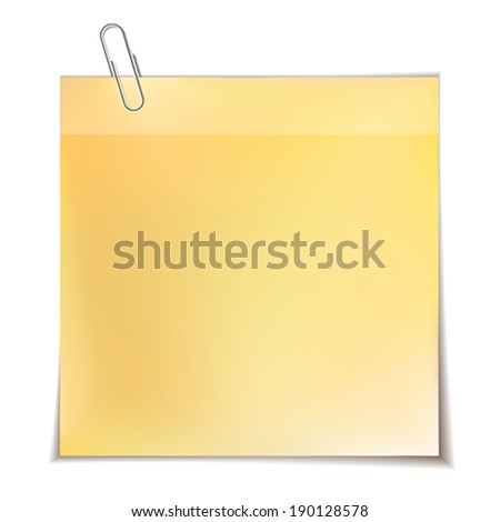 Note paper with metal paper clip isolated on white background.    Vector illustration.  - stock vector