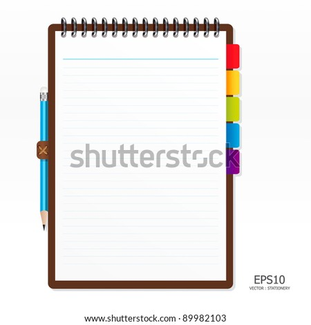 note paper with pencil vector - stock vector
