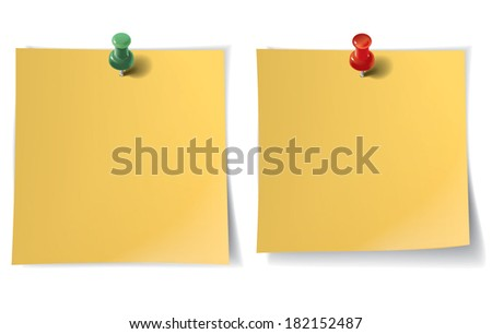 Note paper with pin on white background. Vector illustration