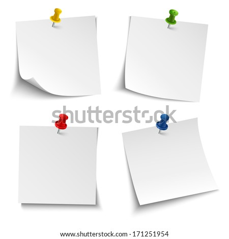 Note paper with push colored pin - stock vector