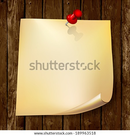 Note paper with red pin on wood background.    Vector illustration.  - stock vector