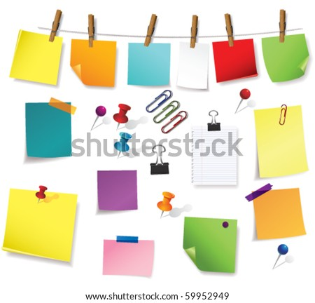 note papers and office supplies - stock vector