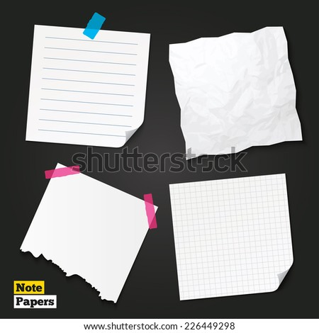 Note papers. Crumpled and torn papers. Writing grid square lined pad. Piece of paper with lines. Scotch taped torn page. Vector - stock vector