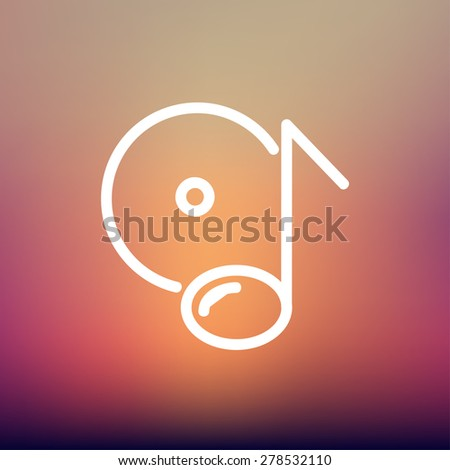 Note phonograph record icon thin line for web and mobile, modern minimalistic flat design. Vector white icon on gradient mesh background. - stock vector