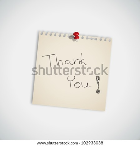 Note with the words Thank You pinned to board Vector