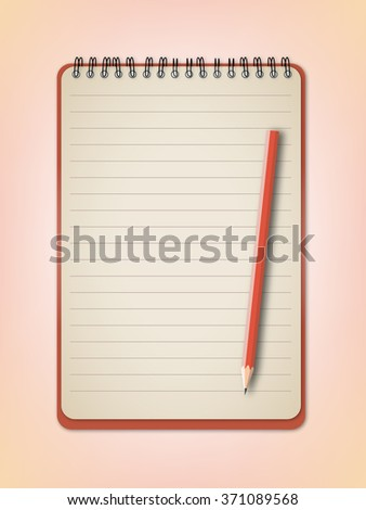 Notebook and orange pencil vector