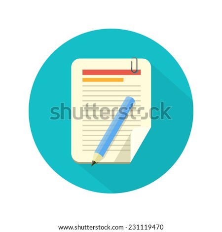 Notebook and pencil icon with long shadow. Flat style - stock vector
