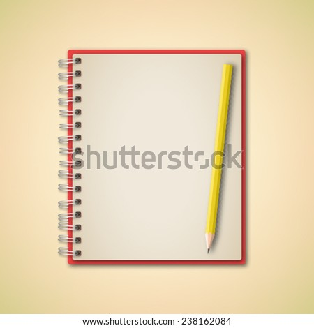 Notebook and Pencil Vector - stock vector