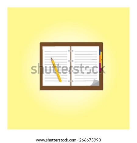 Notebook and pencil vector. - stock vector