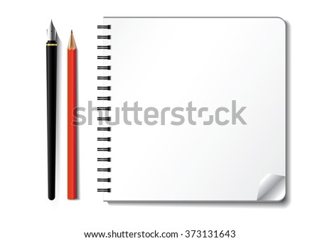 notebook and pencil, white paper