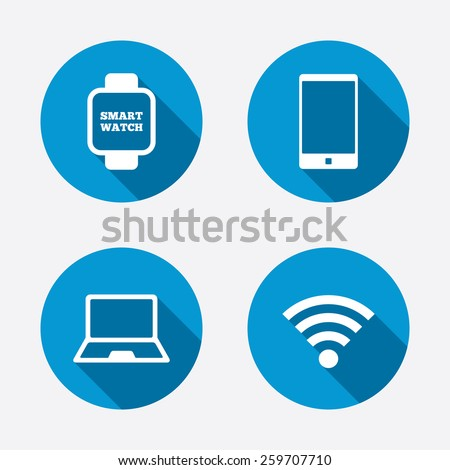 Notebook and smartphone icons. Smart watch symbol. Wireless Network symbol. Mobile devices. Circle concept web buttons. Vector - stock vector