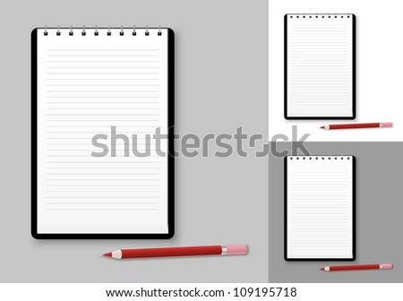 Notebook background with pencil - stock vector
