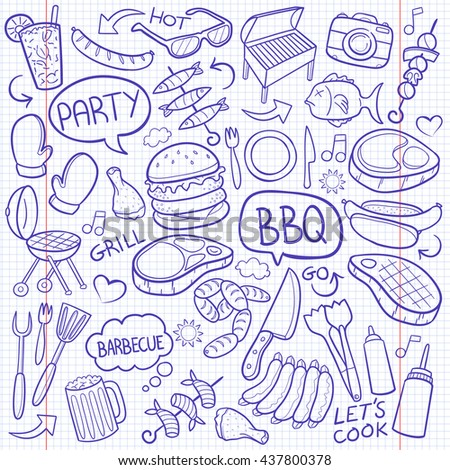 Notebook BBQ Barbecue Day Doodle Icons Hand Made