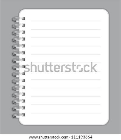notebook blank with metal wire - stock vector