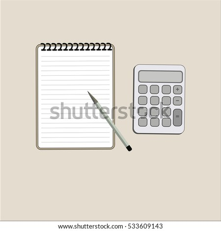Notebook calculator vector illustration business concept.