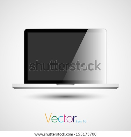 notebook computer icon silhouette in vector format - stock vector