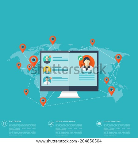 Notebook, computer icon. Social media, network concept. Global communication. - stock vector