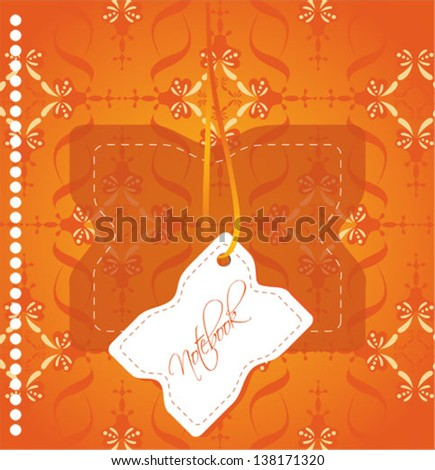 notebook cover with orange background - stock vector