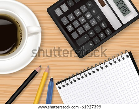 Notebook, cup of coffee and office supplies. Vector. - stock vector
