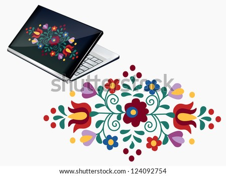Notebook decoration with beautiful Hungarian embroidery pattern - stock vector