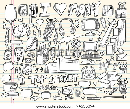 Notebook Doodle Business Technology Design Elements Vector Illustration Set