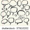 Notebook Doodle Sketch Speech Bubble Vector Illustration Set - stock vector