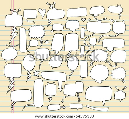 Notebook Doodle Speech Bubble Vector Illustration Set