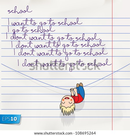 Notebook doodles page with lettering back to school, vector Eps 10 illustration. - stock vector
