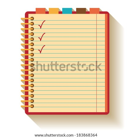 Notebook. Flat design. - stock vector