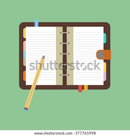 Notebook icon vector. Open notebook with white page. Pen. Pencil. Vector illustration - stock vector