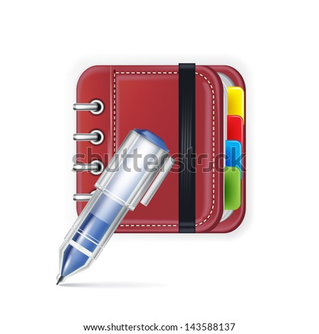 notebook icon with pencil isolated