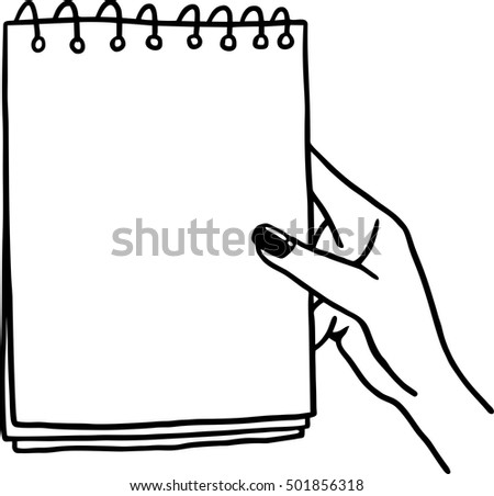 notebook in hand drawing a line