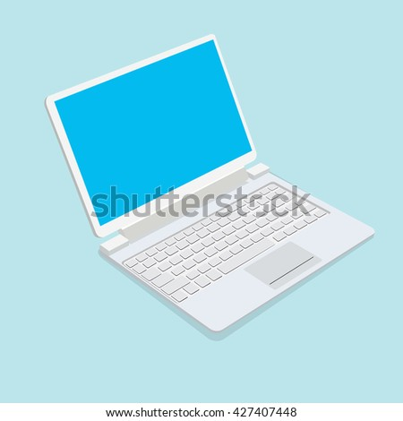 Notebook isolated on blue background. Vector illustration. - stock vector