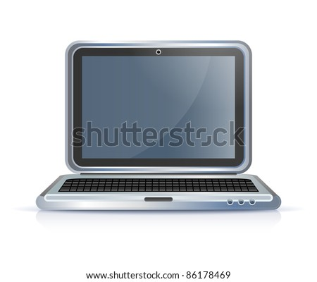 notebook laptop computer icon on white - stock vector