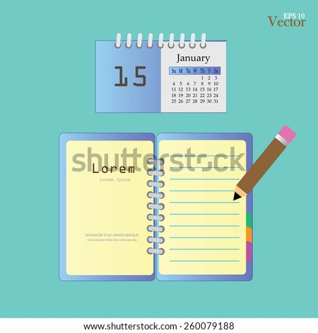 Notebook.notebook and calendar .vector illustration     - stock vector