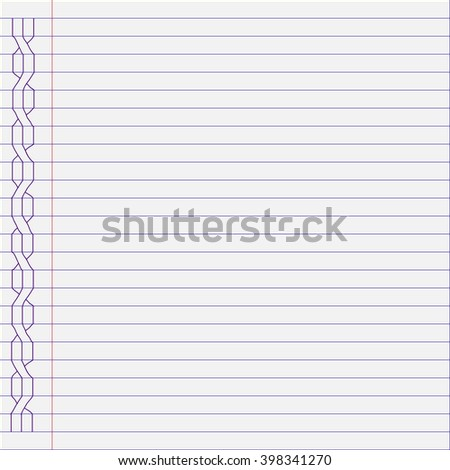 Notebook page background. Vector notebook sheet of paper. - stock vector