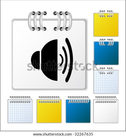 Notebook page with icon. Vector illustration - stock vector