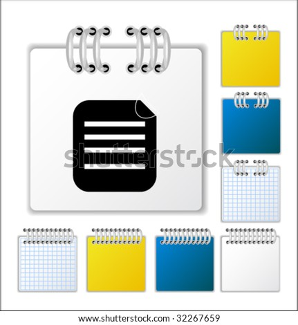 Notebook page with icon. Vector illustration